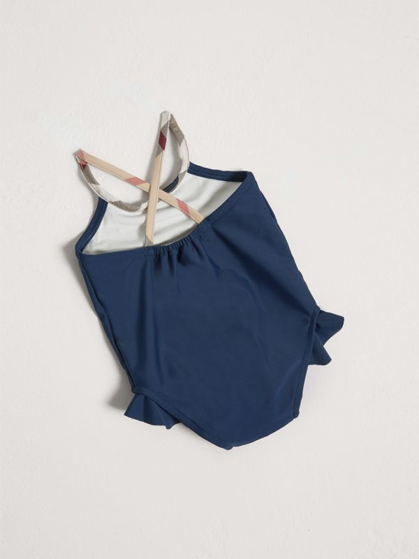 Check Trim Swimsuit in Navy - Children | Burberry - cell image 2