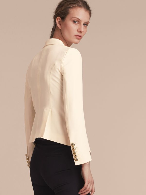 Silk Tuxedo Jacket with Chain Closure in Parchment - Women | Burberry - cell image 2