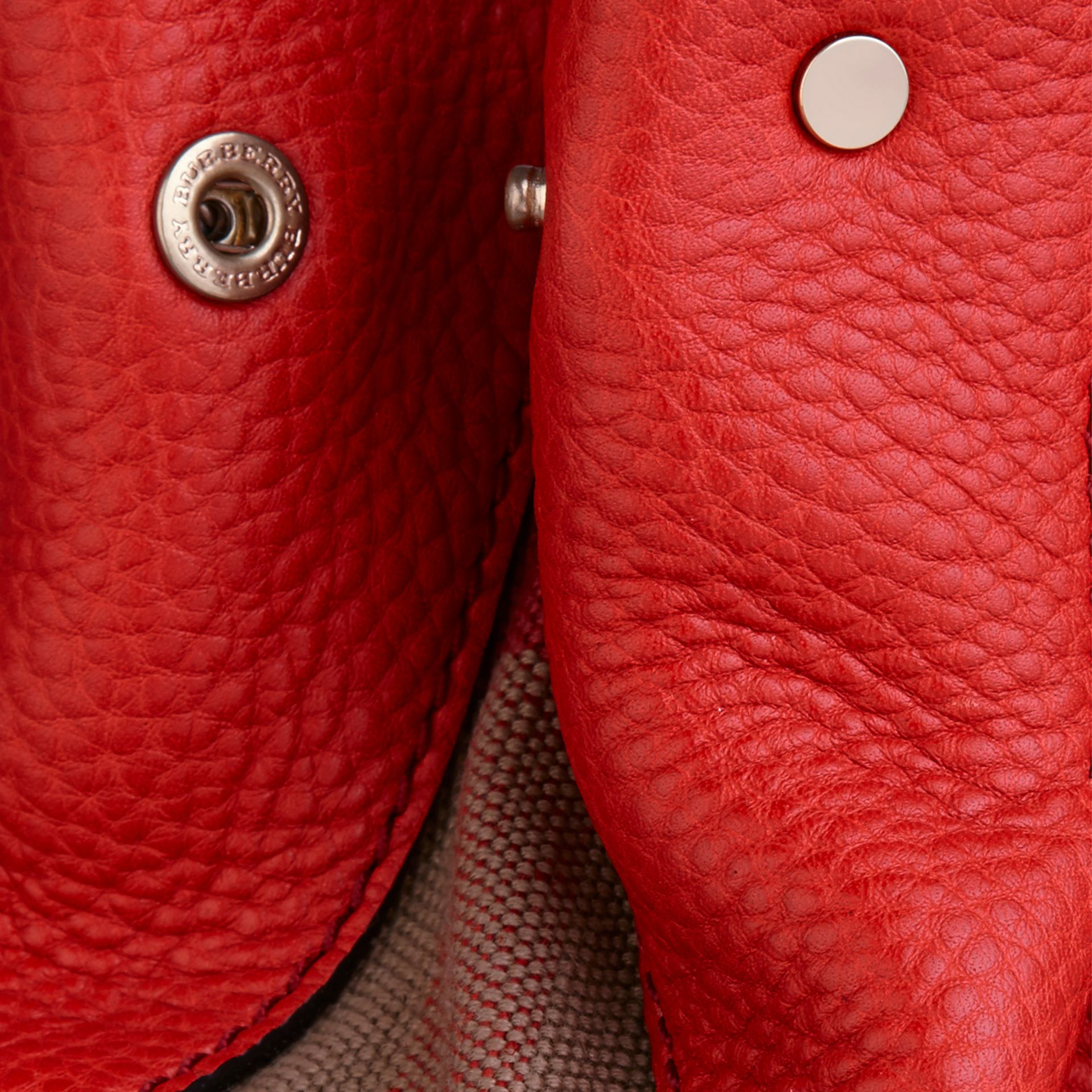 Cadmium red Small Check Detail Leather Tote Bag Cadmium Red - gallery image 5