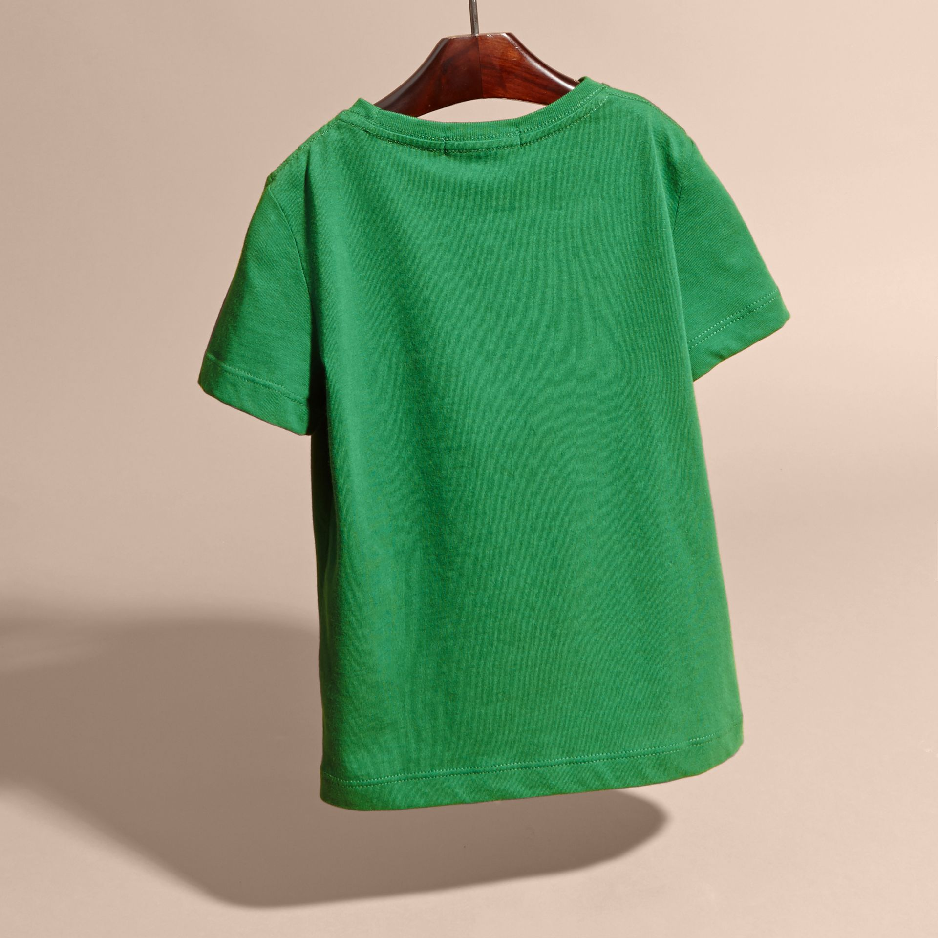 Crew Neck Cotton T-shirt in Bright Pigment Green - gallery image 4