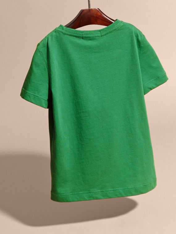 Crew Neck Cotton T-shirt in Bright Pigment Green - cell image 3