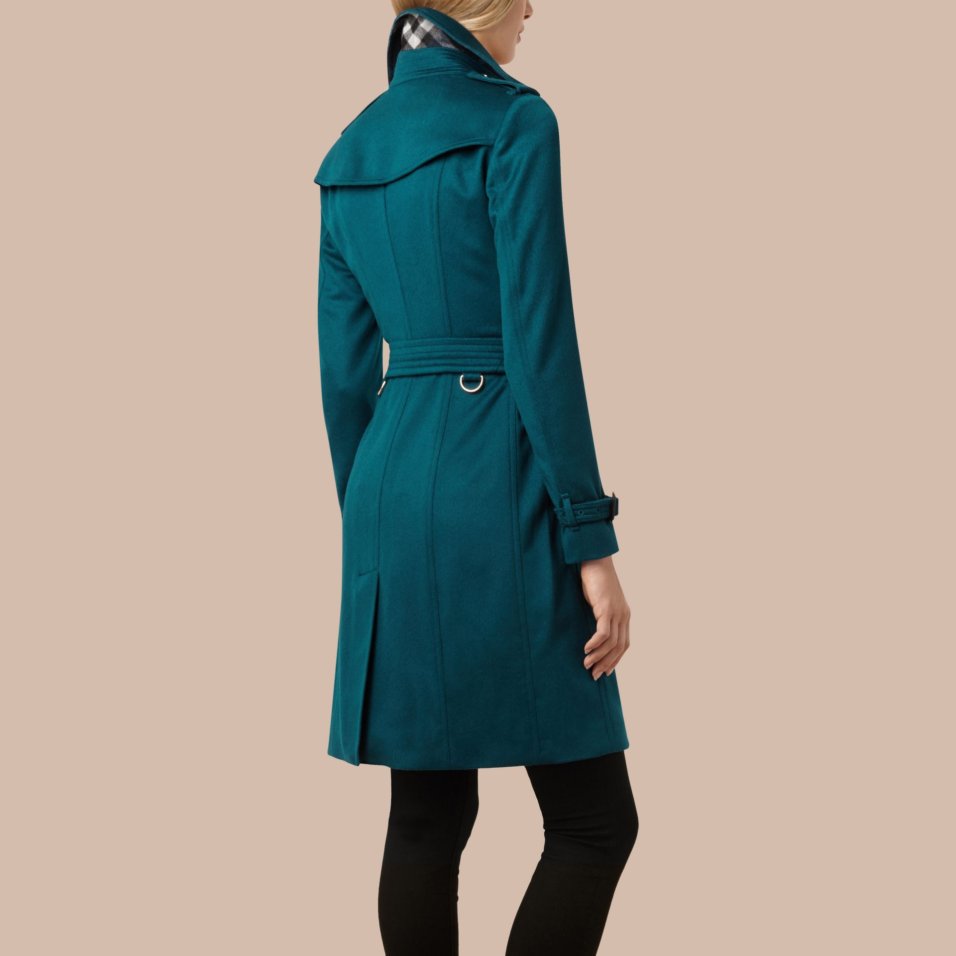 Teal Sandringham Fit Cashmere Trench Coat Teal - gallery image 3