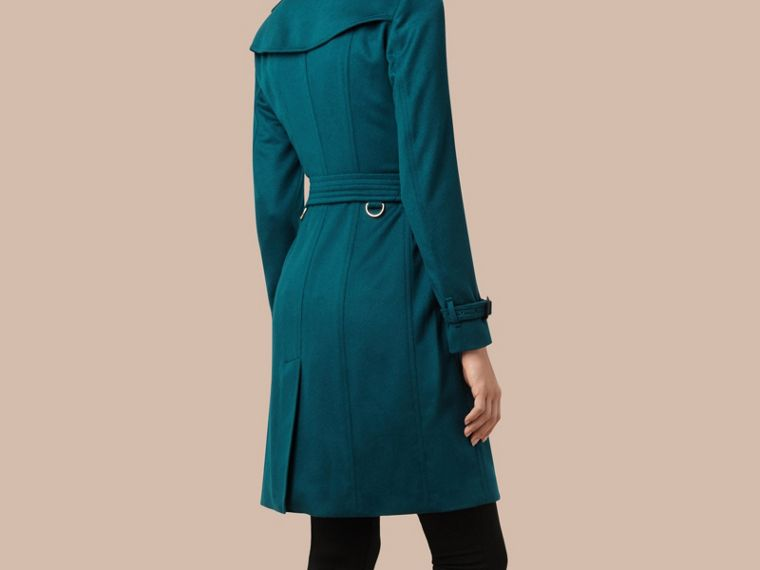 Teal Sandringham Fit Cashmere Trench Coat Teal - cell image 2