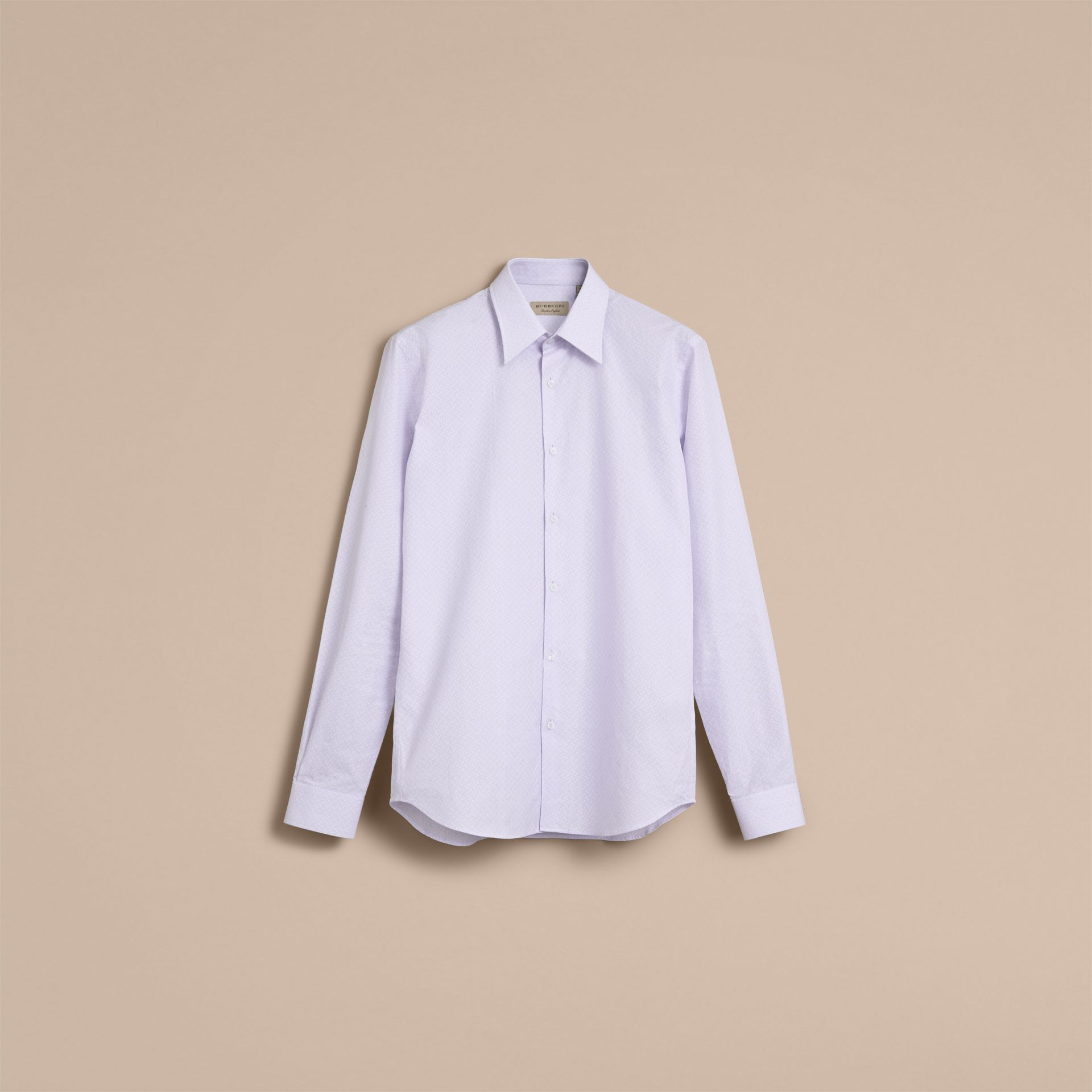 Slim Fit Striped Geometric Dobby Cotton Shirt in Pale Sky Blue - Men | Burberry - gallery image 4