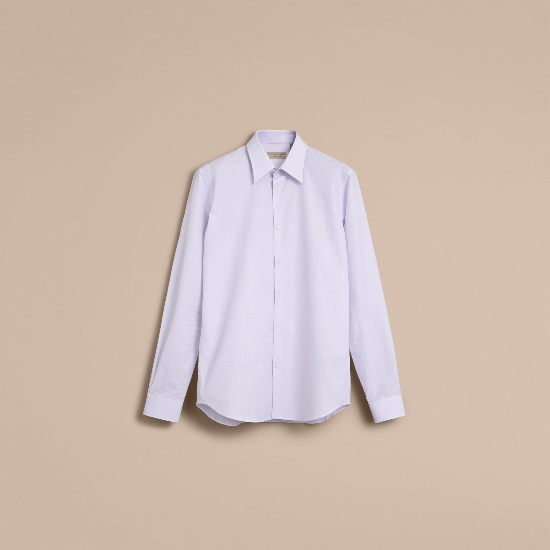 슬림 핏 스트라이프 지오메트릭 도비 코튼 셔츠 (페일 스카이 블루) - 남성 | Burberry - 갤러리 이미지 4