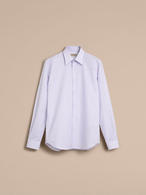 Slim Fit Striped Geometric Dobby Cotton Shirt in Pale Sky Blue - Men | Burberry - cell image 3