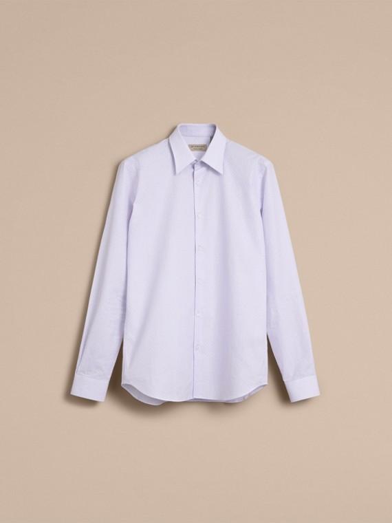 슬림 핏 스트라이프 지오메트릭 도비 코튼 셔츠 (페일 스카이 블루) - 남성 | Burberry - cell image 3