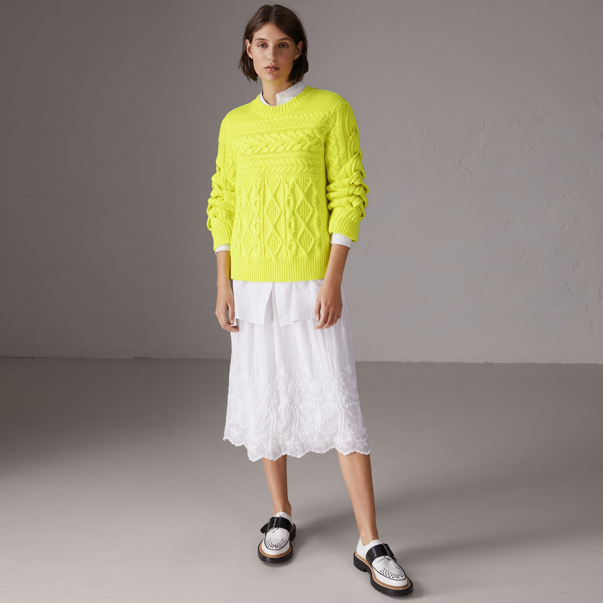 Aran Knit Wool Cashmere Sweater in Fluorescent Yellow - Women | Burberry Canada - gallery image 0