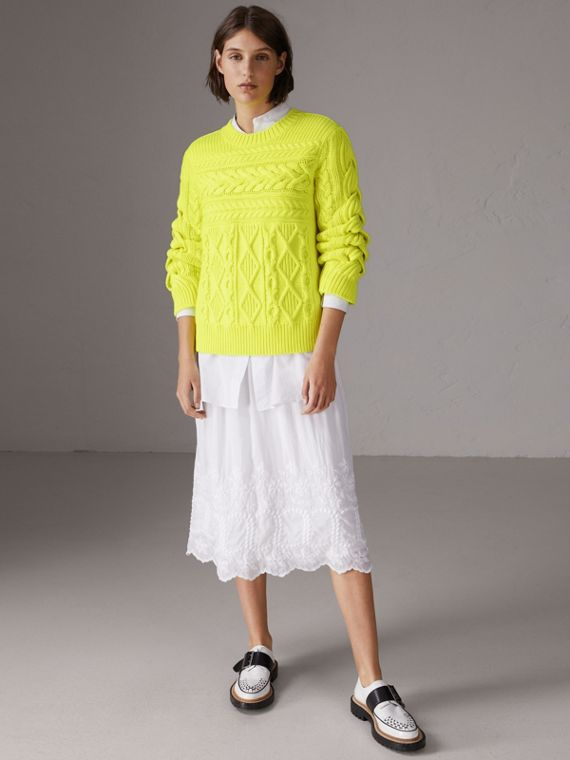Aran Knit Wool Cashmere Sweater in Fluorescent Yellow