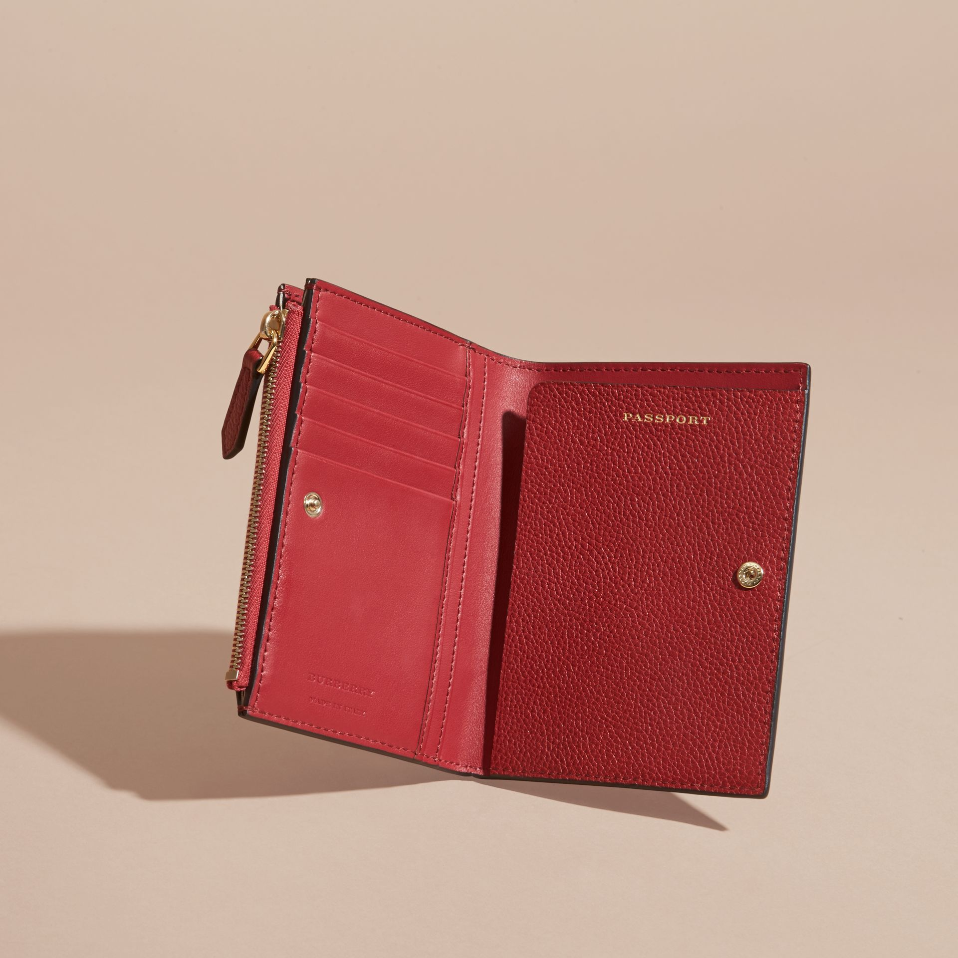 Leather Passport Wallet in Parade Red - gallery image 5