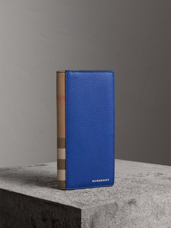 House Check and Grainy Leather Continental Wallet in Deep Blue