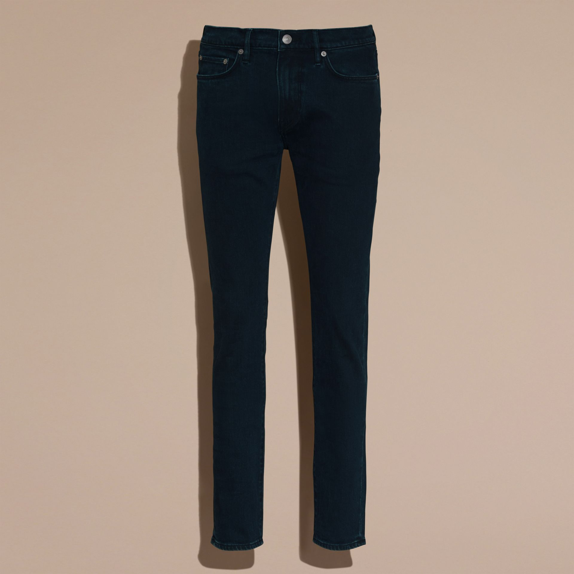 Dark indigo Slim Fit Over-dyed Stretch Jeans - gallery image 4