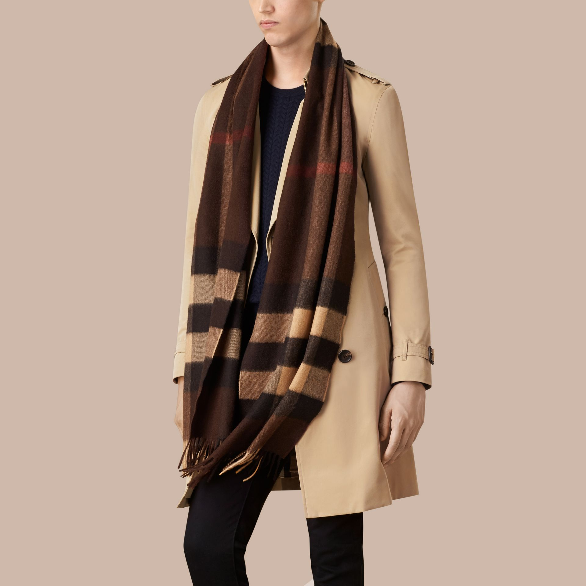 Dark chestnut brown check Giant Exploded Check Cashmere Scarf - gallery image 4