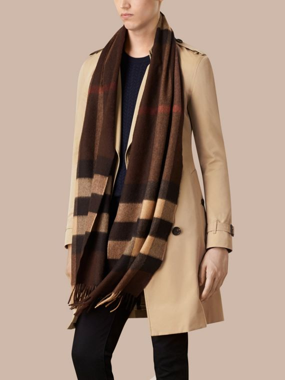 Dark chestnut brown check Giant Exploded Check Cashmere Scarf - cell image 3