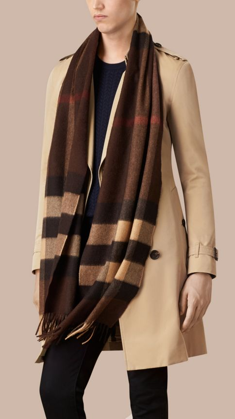 Dark chestnut brown check Giant Exploded Check Cashmere Scarf Dark Chestnut Brown - Image 4