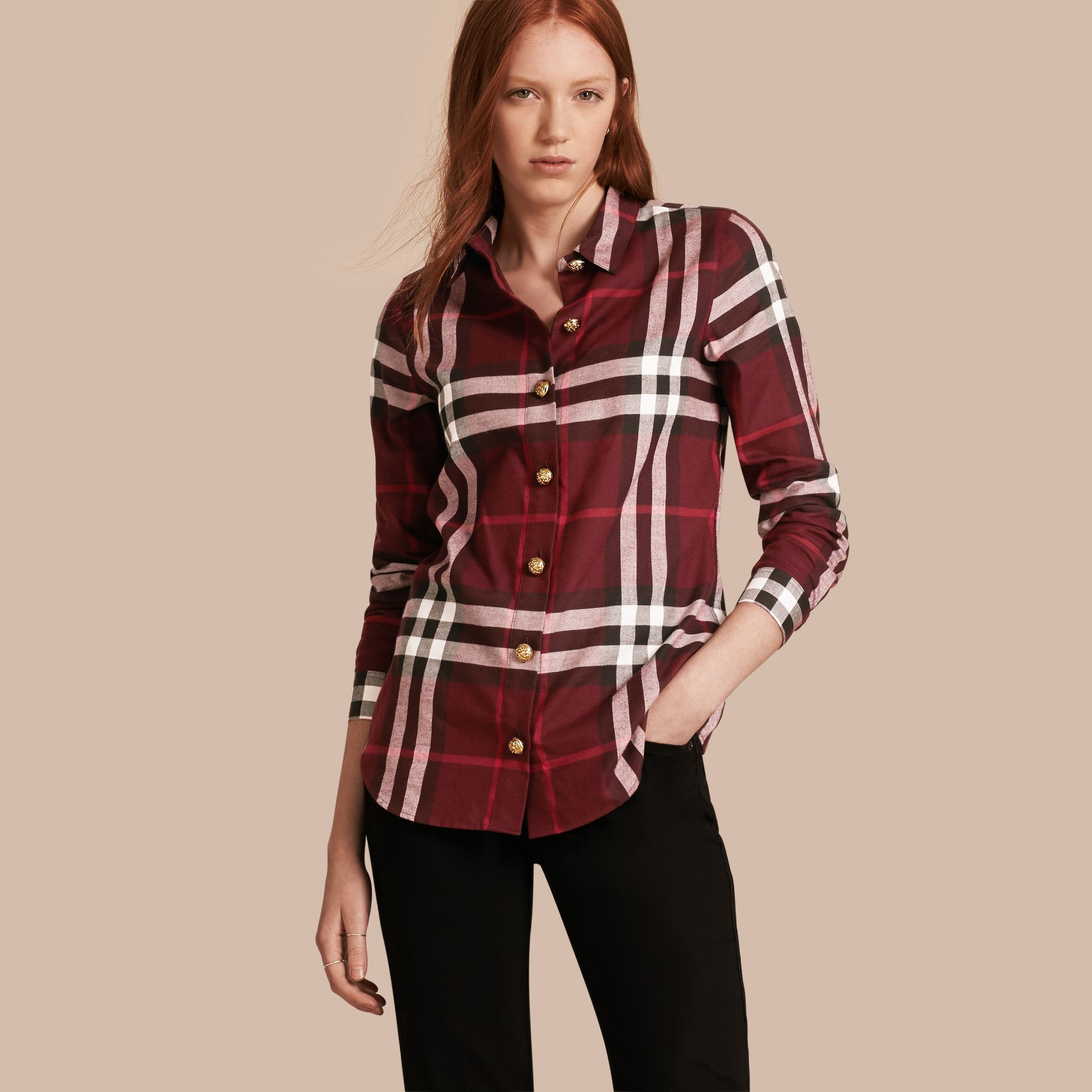 Claret Fitted Cotton Flannel Military Check Shirt - gallery image 1