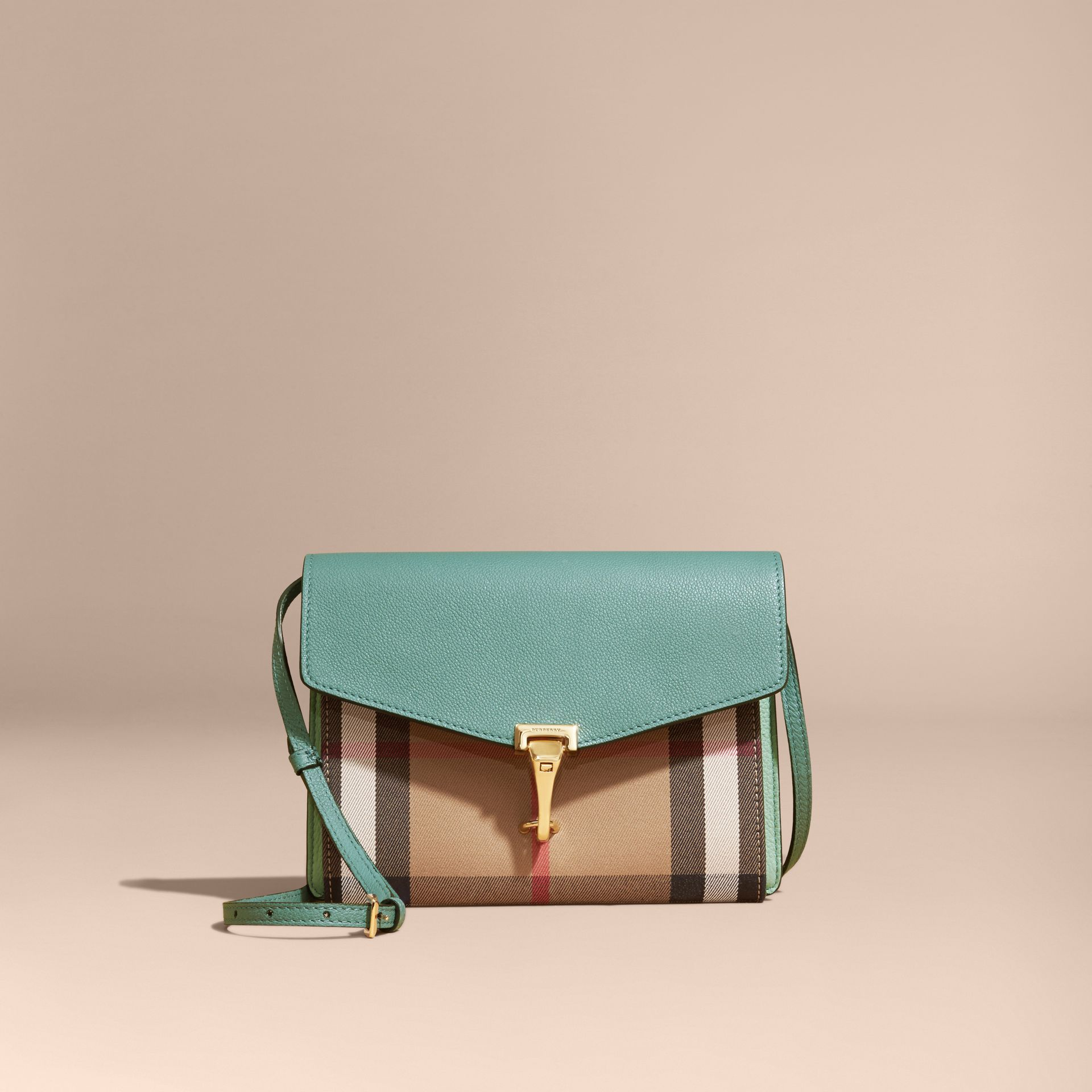 Small Leather and House Check Crossbody Bag Celadon Blue - gallery image 7