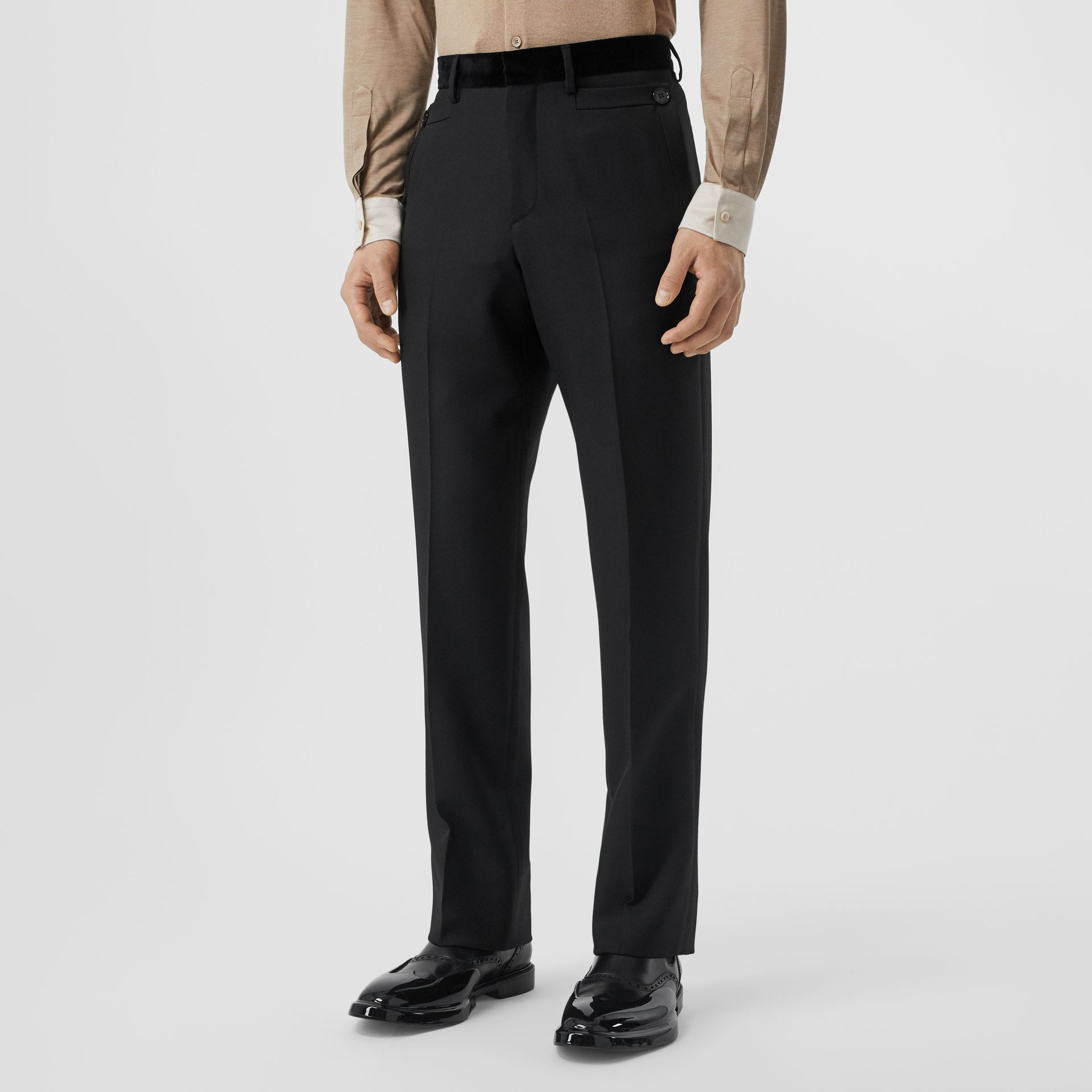 Velvet Trim Wool Tailored Trousers in Black - Men | Burberry United States - gallery image 4