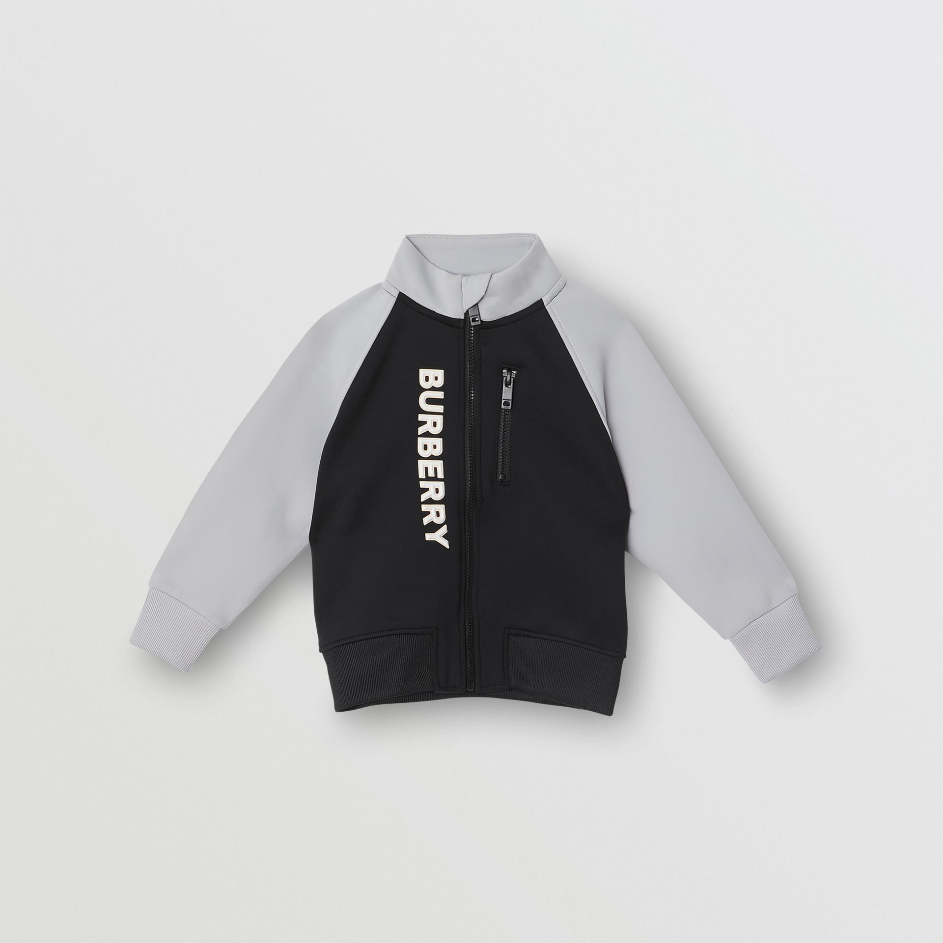 Logo Print Two-tone Stretch Jersey Track Top in Black - Children | Burberry United Kingdom - gallery image 0