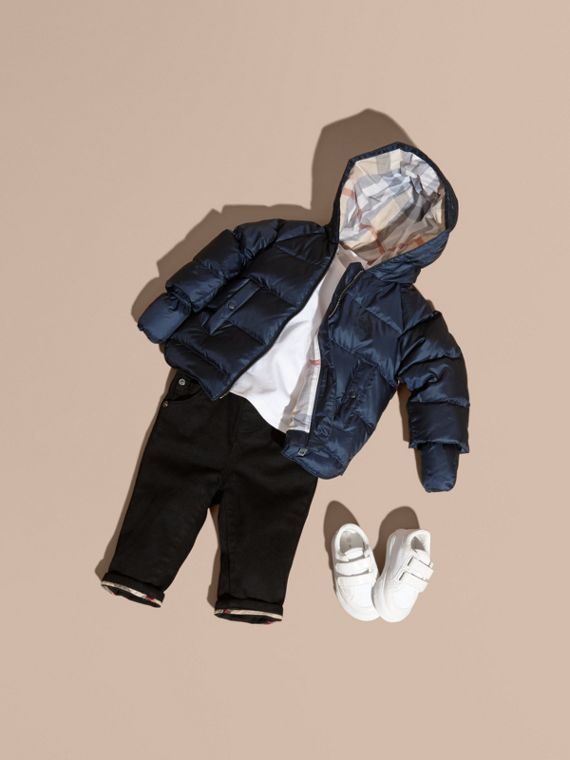 Hooded Down-filled Puffer Jacket with Mittens in Navy | Burberry Canada