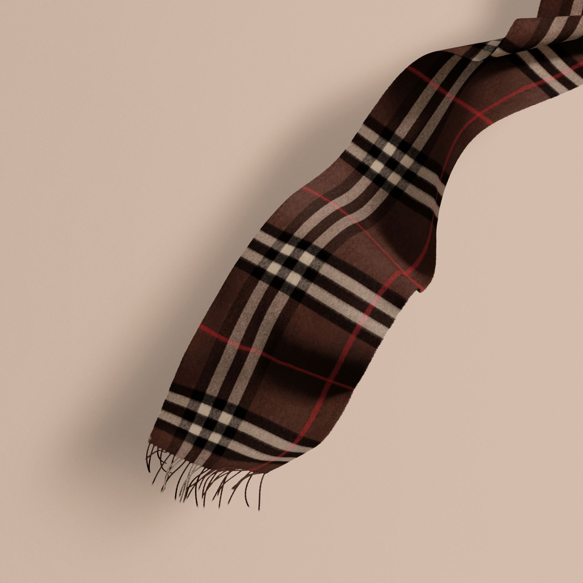 The Classic Cashmere Scarf in Check Dark Chestnut Brown - gallery image 1