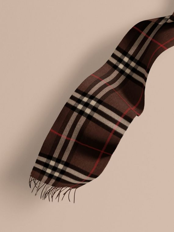 The Classic Cashmere Scarf in Check in Dark Chestnut Brown