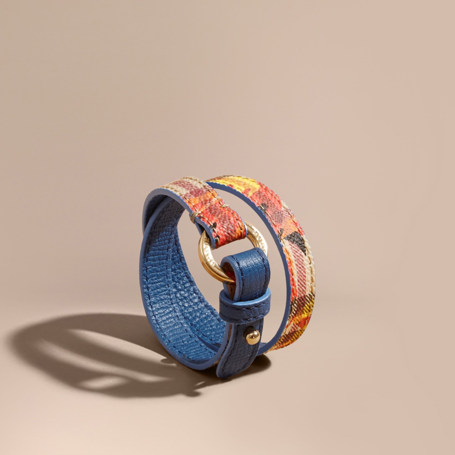 Peony Rose Print Haymarket Check Wrap Bracelet in Mineral Blue/vibrant Orange - gallery image 1
