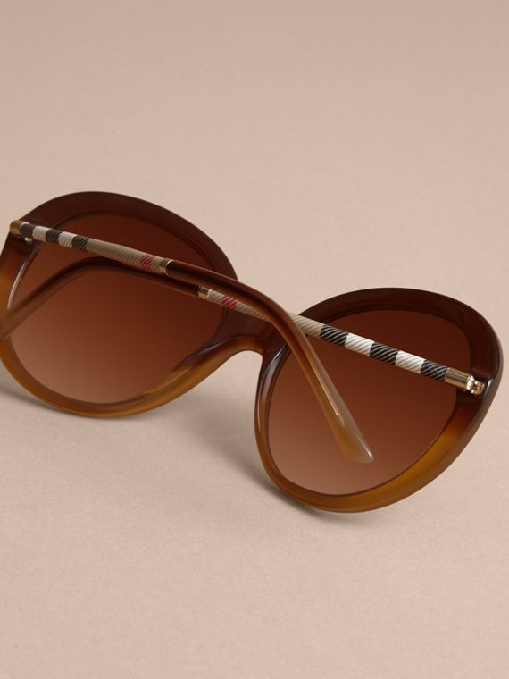 Check Detail Round Frame Sunglasses in Amber - Women | Burberry - cell image 3