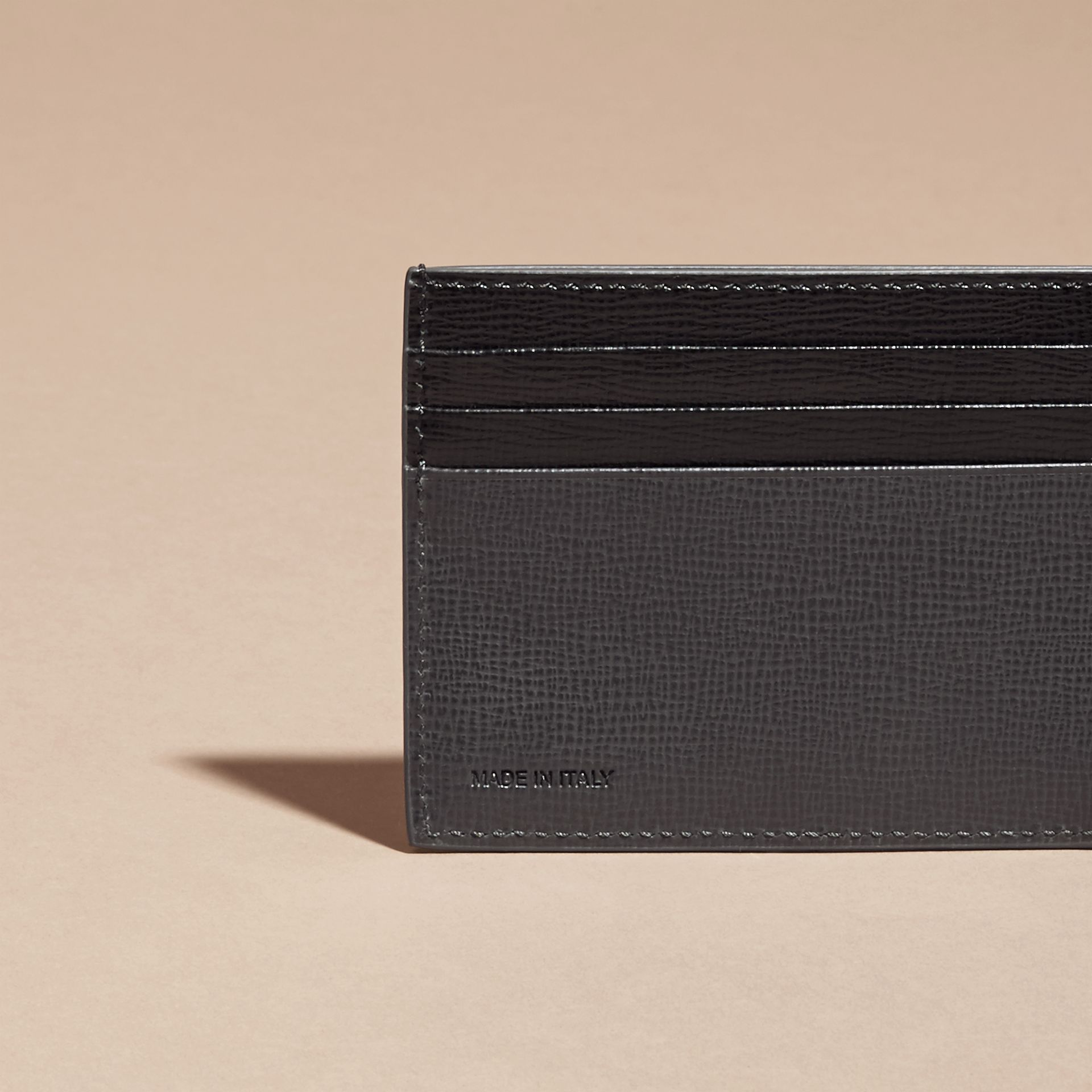 Charcoal/black Colour Block London Leather Card Case Charcoal/black - gallery image 4
