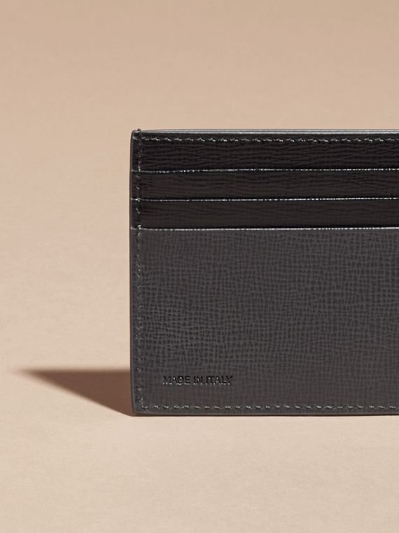 Charcoal/black Colour Block London Leather Card Case Charcoal/black - cell image 3