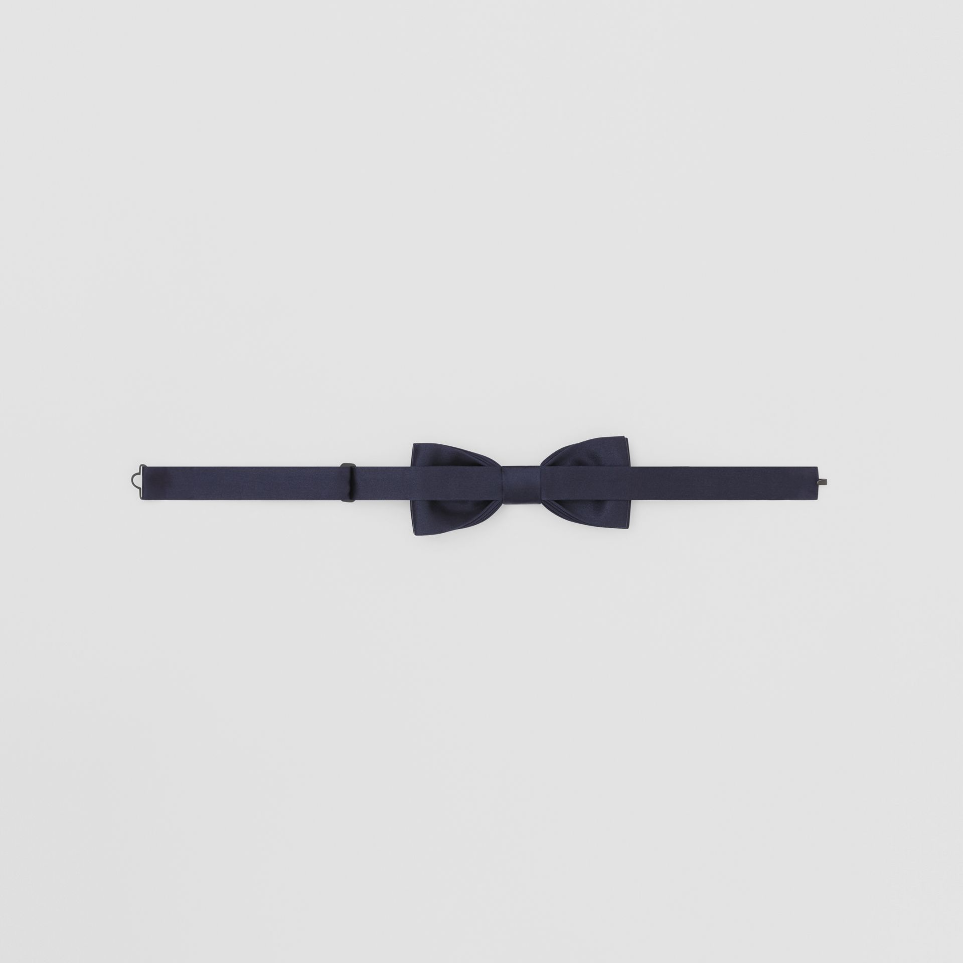 Silk Satin Bow Tie in Navy - Men | Burberry - gallery image 3