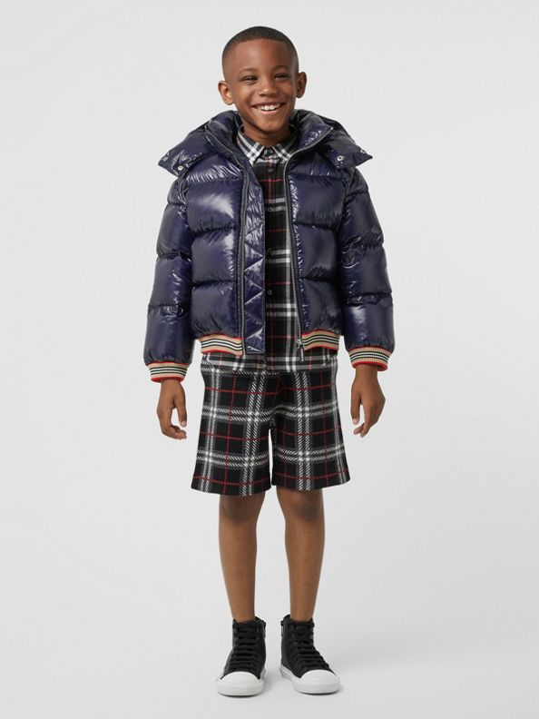 Icon Stripe Detail Down-filled Hooded Puffer Jacket in Bright Navy