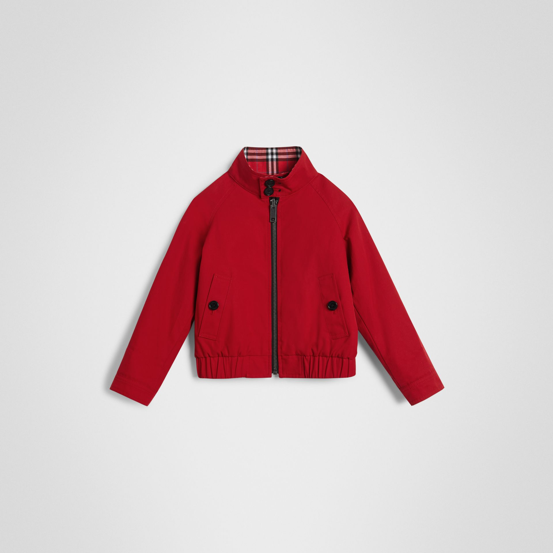 Reversible Check Cotton Harrington Jacket in Bright Red - Children | Burberry - gallery image 0