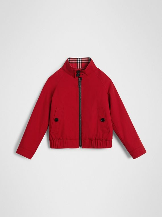 Veste Harrington en coton à motif check réversible (Rouge Vif)