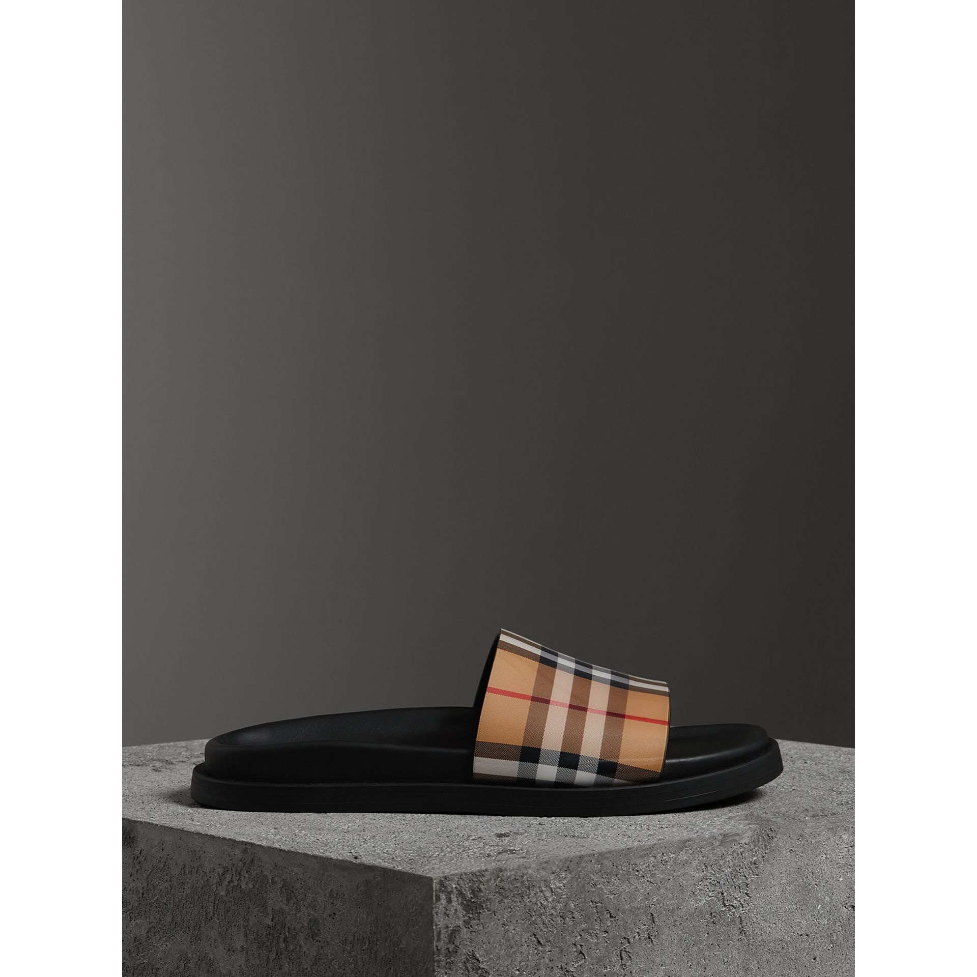 Vintage Check and Leather Slides in Antique Yellow - Women | Burberry - gallery image 3