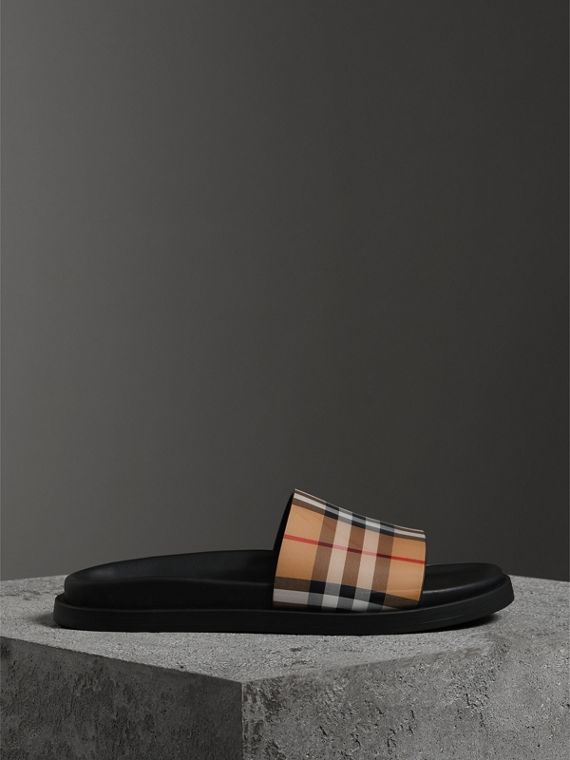 Vintage Check and Leather Slides in Antique Yellow - Women | Burberry Australia - cell image 3
