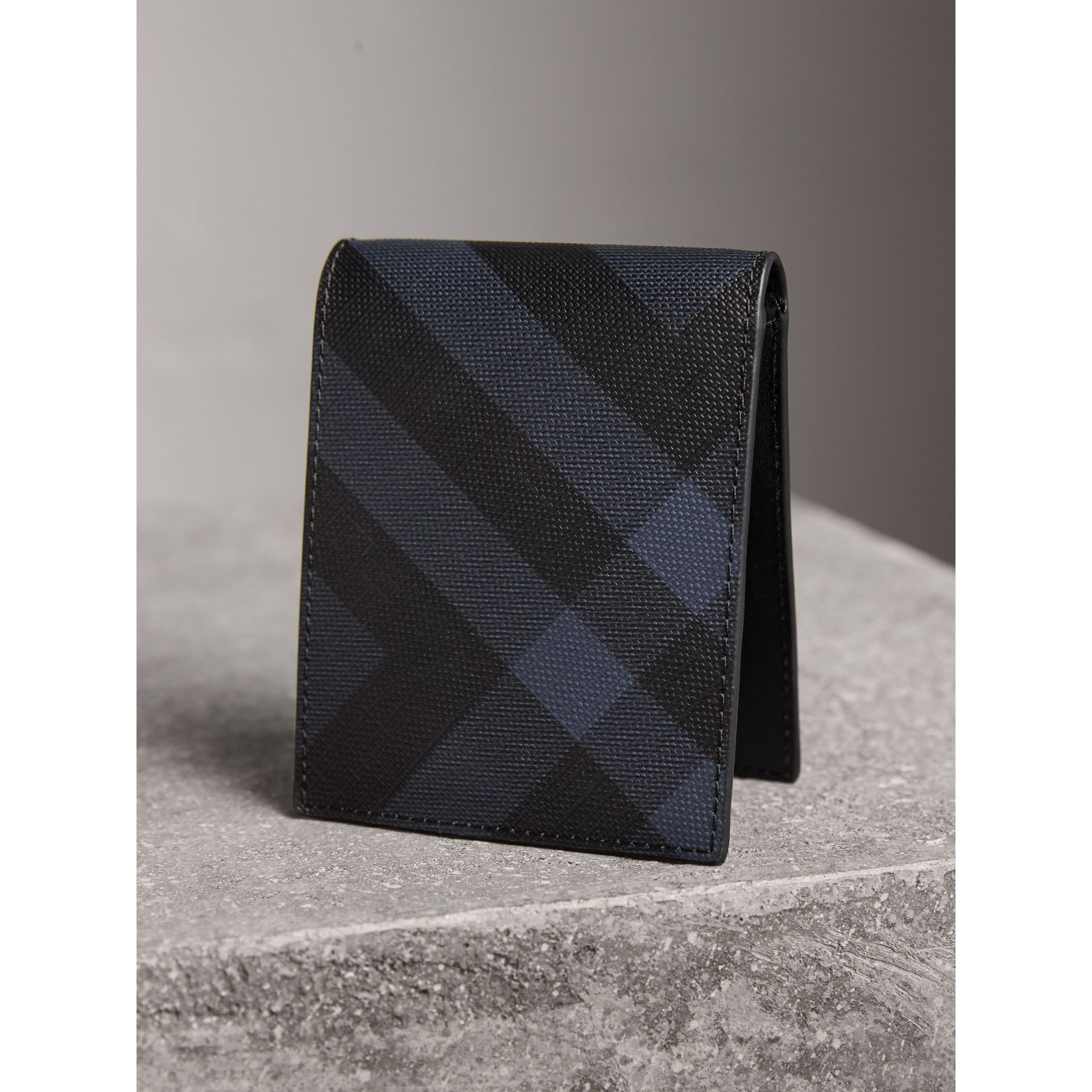 London Check and Leather Bifold Wallet in Navy/black - Men | Burberry Singapore - gallery image 3