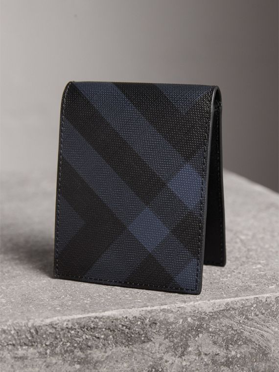 London Check and Leather Bifold Wallet in Navy/black - Men | Burberry Singapore - cell image 2