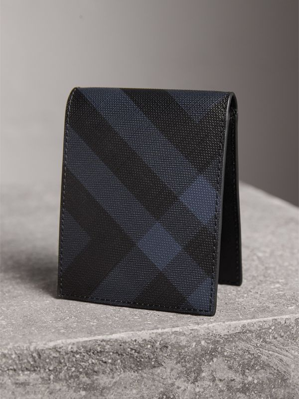 London Check and Leather Bifold Wallet in Navy/black - Men | Burberry Canada - cell image 2