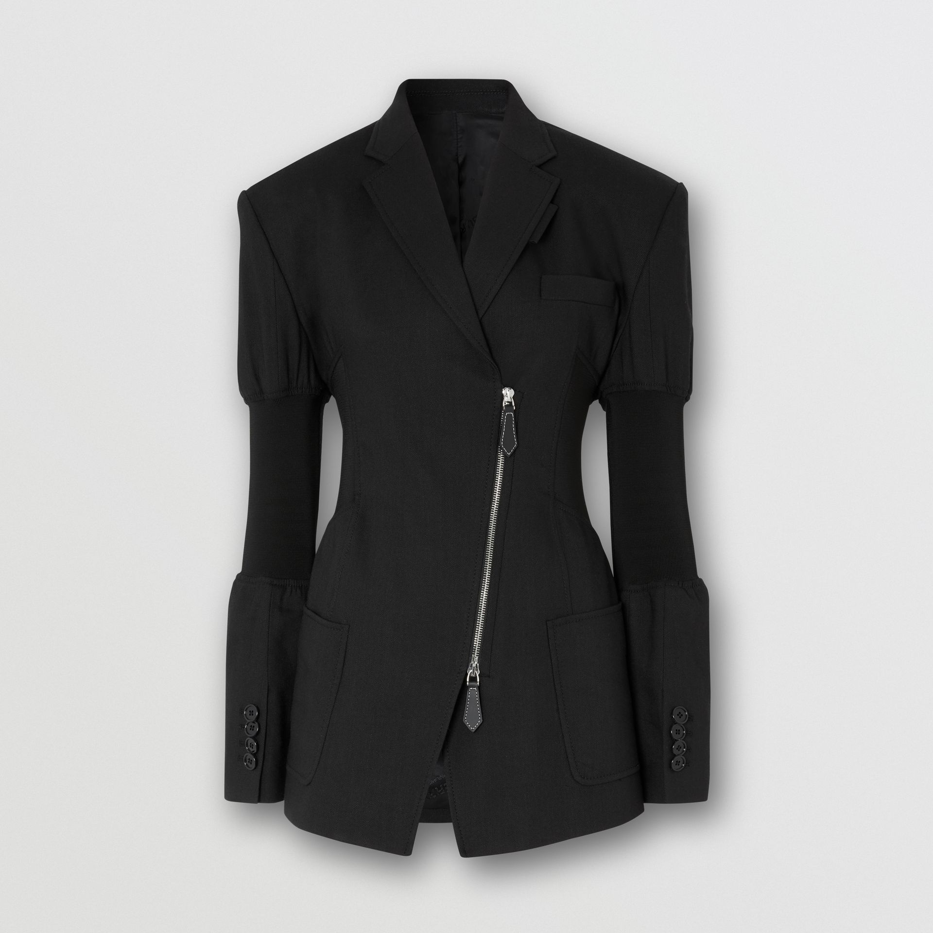 Technical Twill Reconstructed Blazer in Black - Women | Burberry - gallery image 3