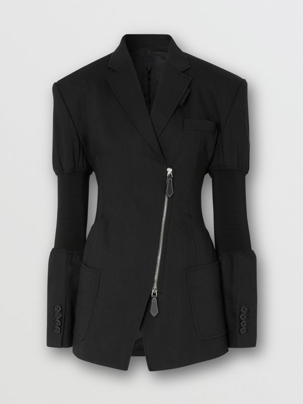 Technical Twill Reconstructed Blazer in Black - Women | Burberry Australia - cell image 3