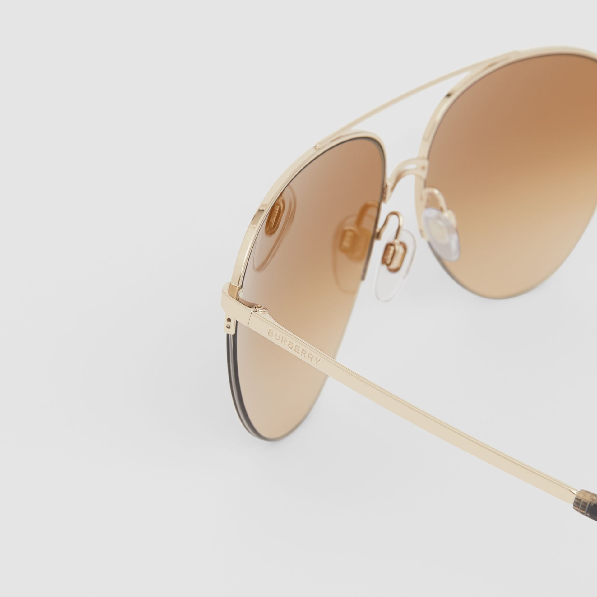 Top Bar Detail Pilot Sunglasses in Light Brown - Women | Burberry - gallery image 1