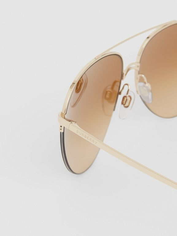 Top Bar Detail Pilot Sunglasses in Light Brown - Women | Burberry Australia - cell image 1