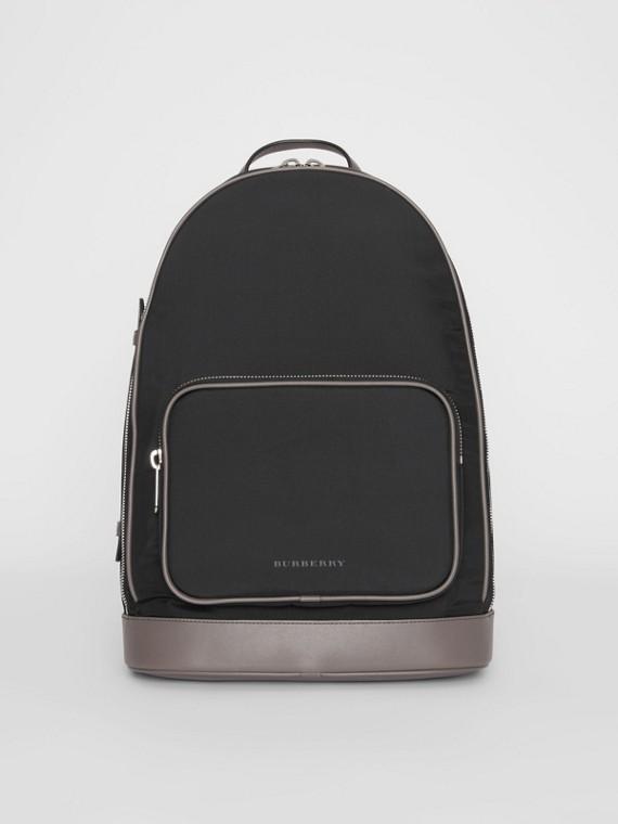 Heritage Stripe Detail Nylon Backpack in Black