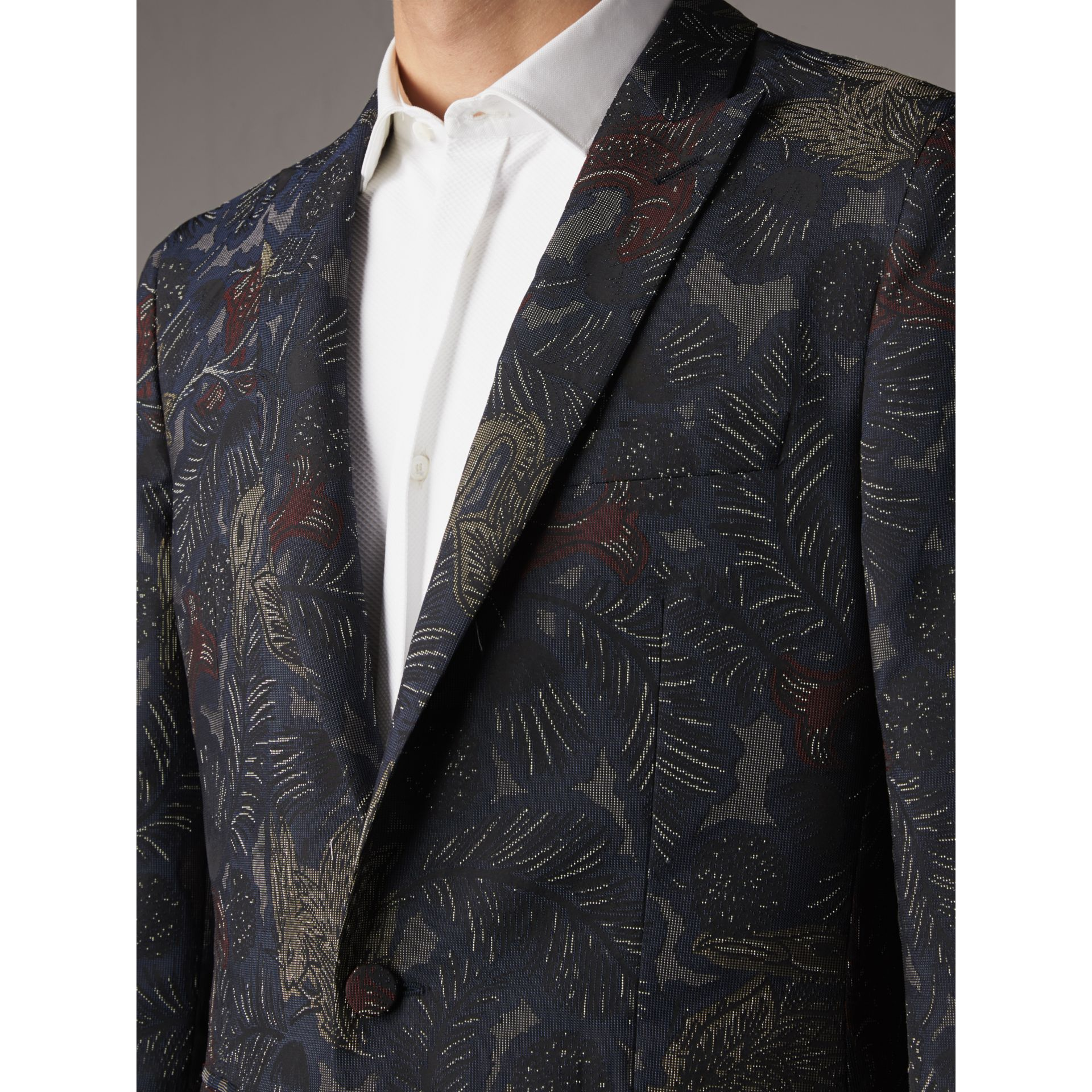 Slim Fit Beasts Technical Silk Jacquard Tailored Jacket in Navy Grey - Men | Burberry Australia - gallery image 2