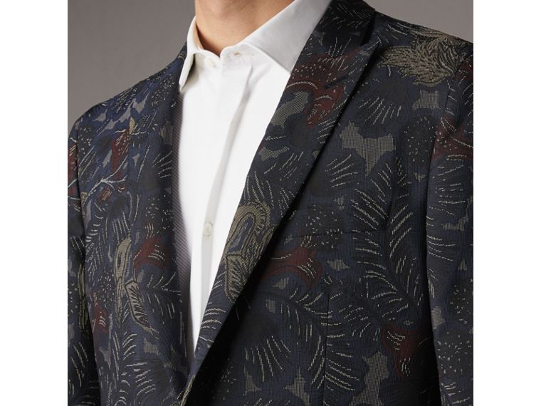 Slim Fit Beasts Technical Silk Jacquard Tailored Jacket in Navy Grey - Men | Burberry - cell image 1