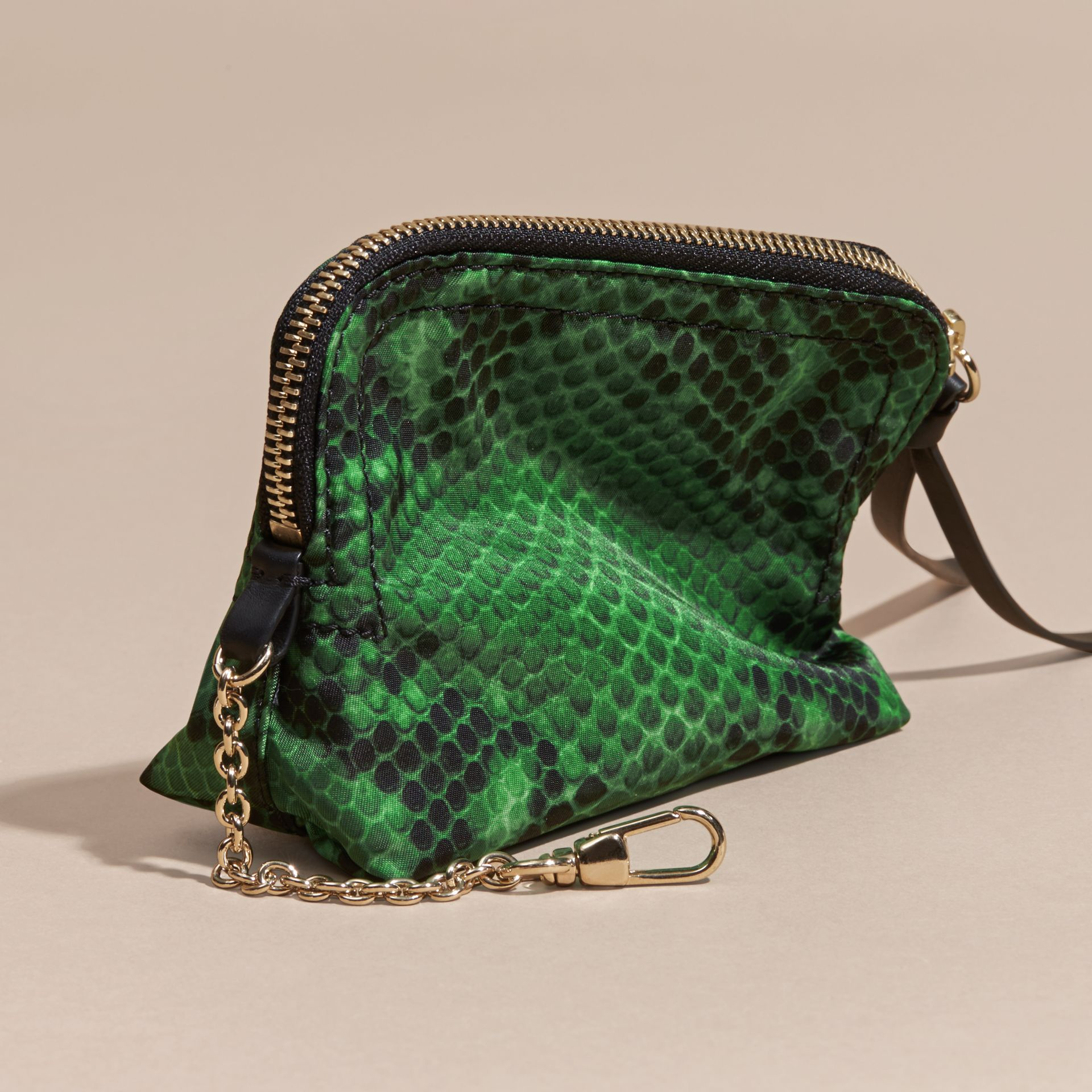 Bright green Zip-top Python-print Technical Nylon Pouch Bright Green - gallery image 4