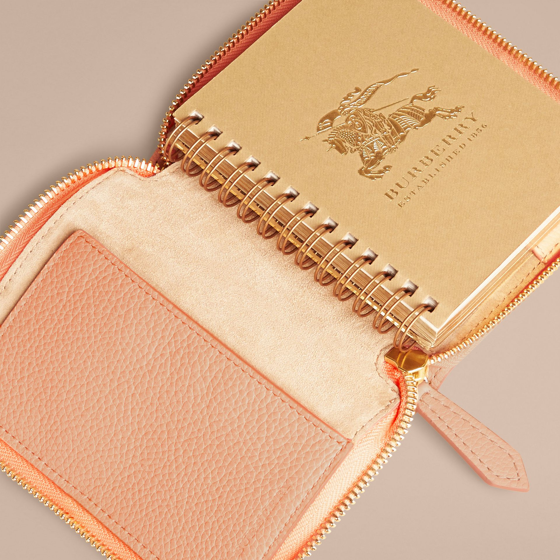 Pink apricot Ziparound Embossed Check Grainy Leather Mini Notebook Pink Apricot - gallery image 3