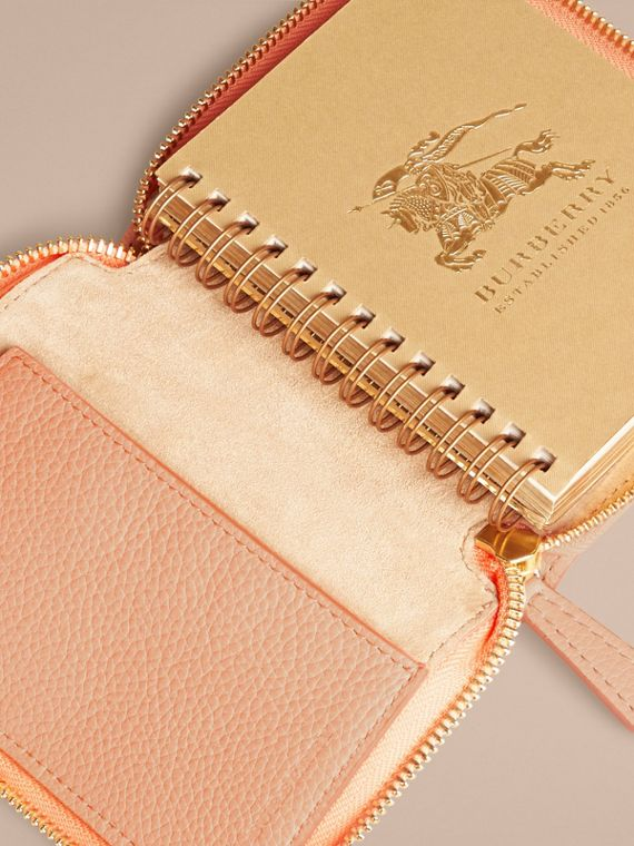 Pink apricot Ziparound Embossed Check Grainy Leather Mini Notebook Pink Apricot - cell image 2