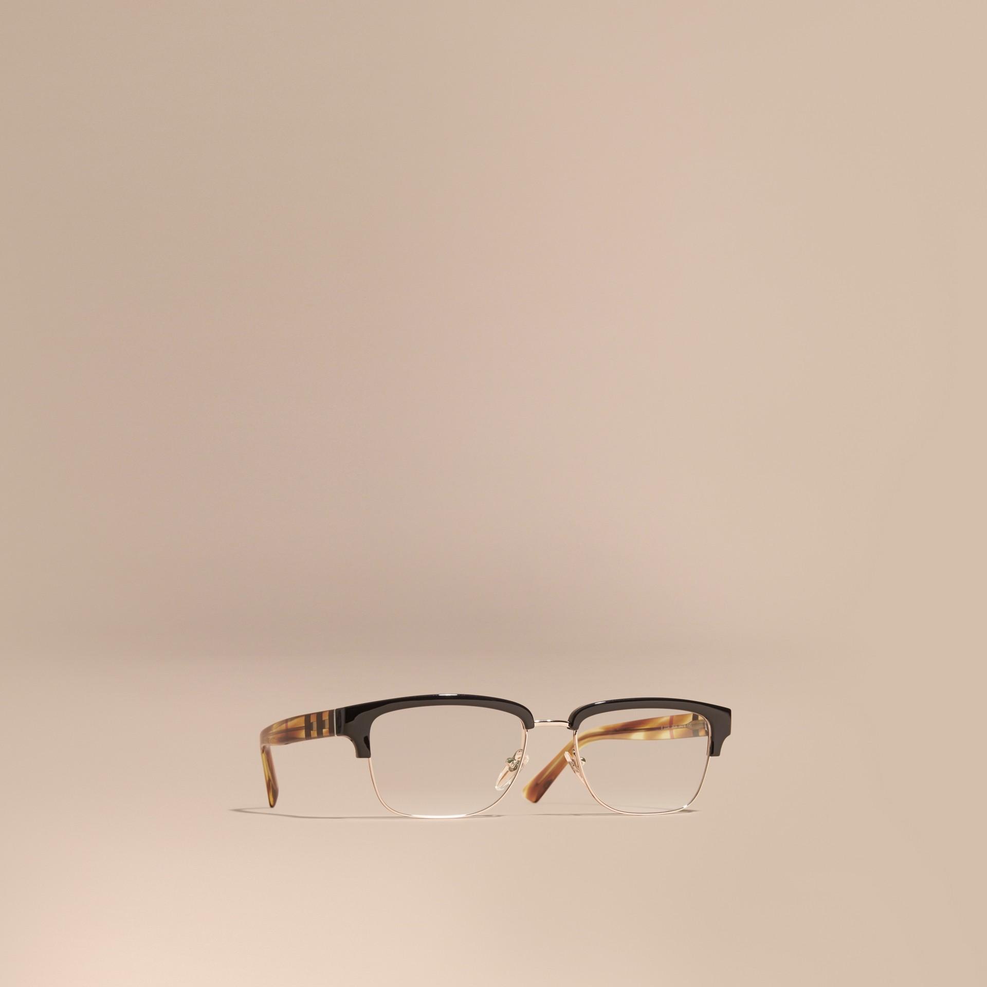 Black Half-rimmed Oval Optical Frames Black - gallery image 1